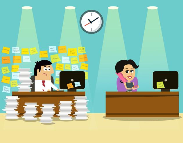 Business life man girl scene vector