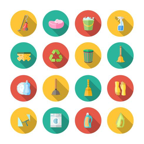 Cleaning Icons Flat Set vector