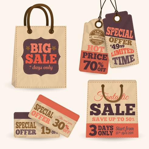 Colección de etiquetas de precio de venta de papel.