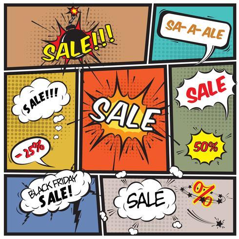 Bolhas de promoção de venda de oferta melhor em quadrinhos
