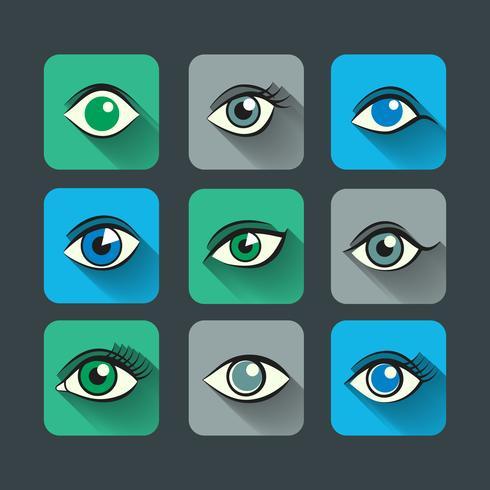 Ögon ikoner platt uppsättning