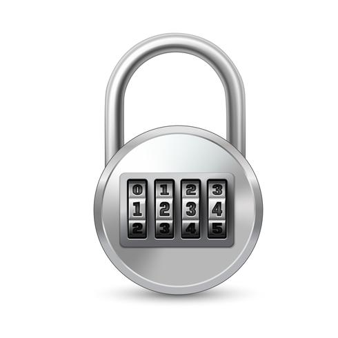 Realistic lock with combination code vector