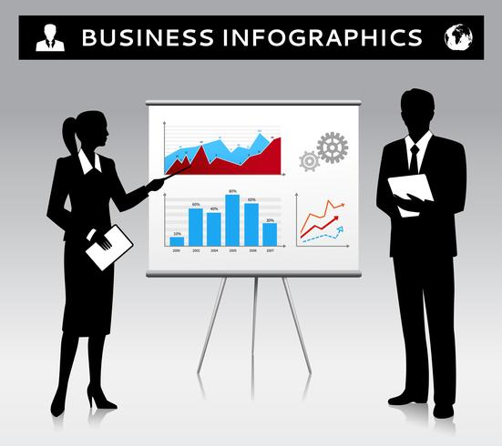 Flipchart presentation template with business people vector