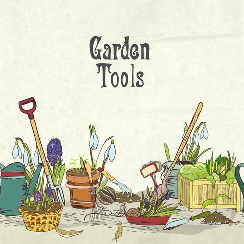 Couverture d'album d'outils de jardinage dessinés à la main vecteur