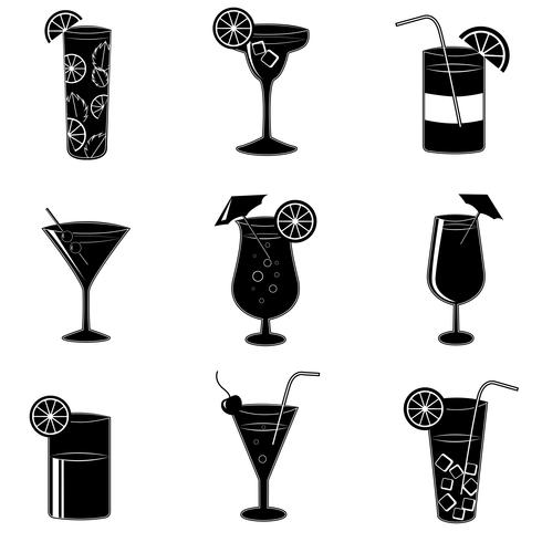 Pictograms of party cocktails with alcohol
