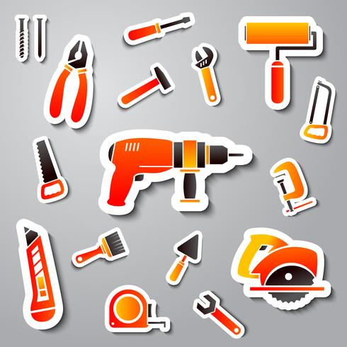Collection of tool stickers vector
