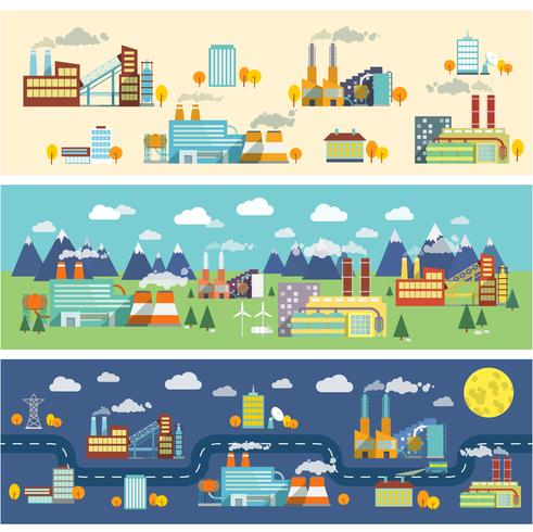 Banners horizontales de edificios industriales