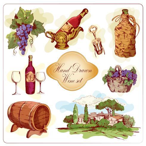 Conjunto de iconos de color vino vector