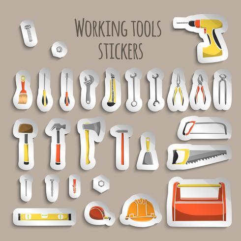 Snickeriarbetsverktyg ikoner klistermärken vektor