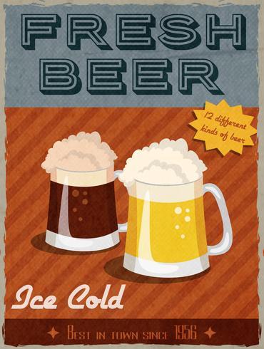 Cartel retro de cerveza vector
