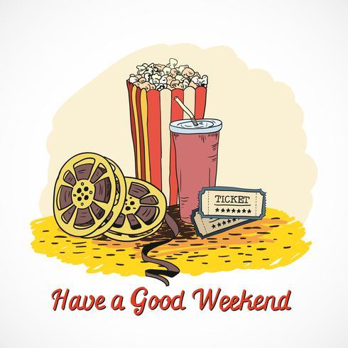Concepto de fin de semana de cine de color vector