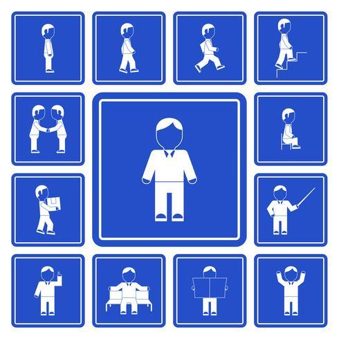 Affärsman aktiviteter ikoner uppsättning