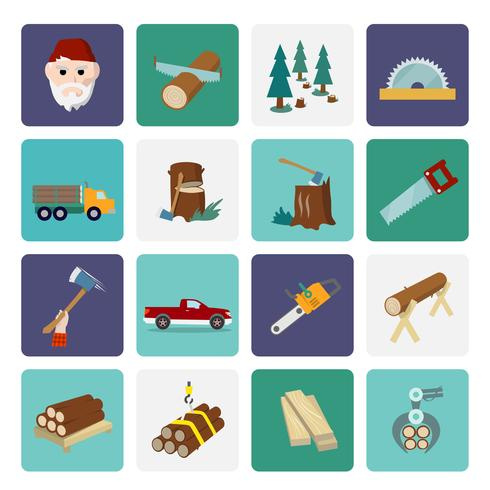 Lumberjack icon set flat vector