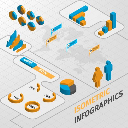 Isometric business infographics design elements