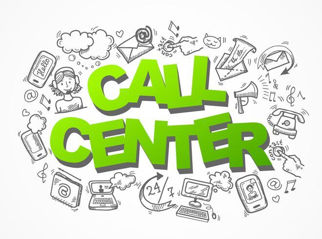 Composition d'icônes de croquis de centre d'appel