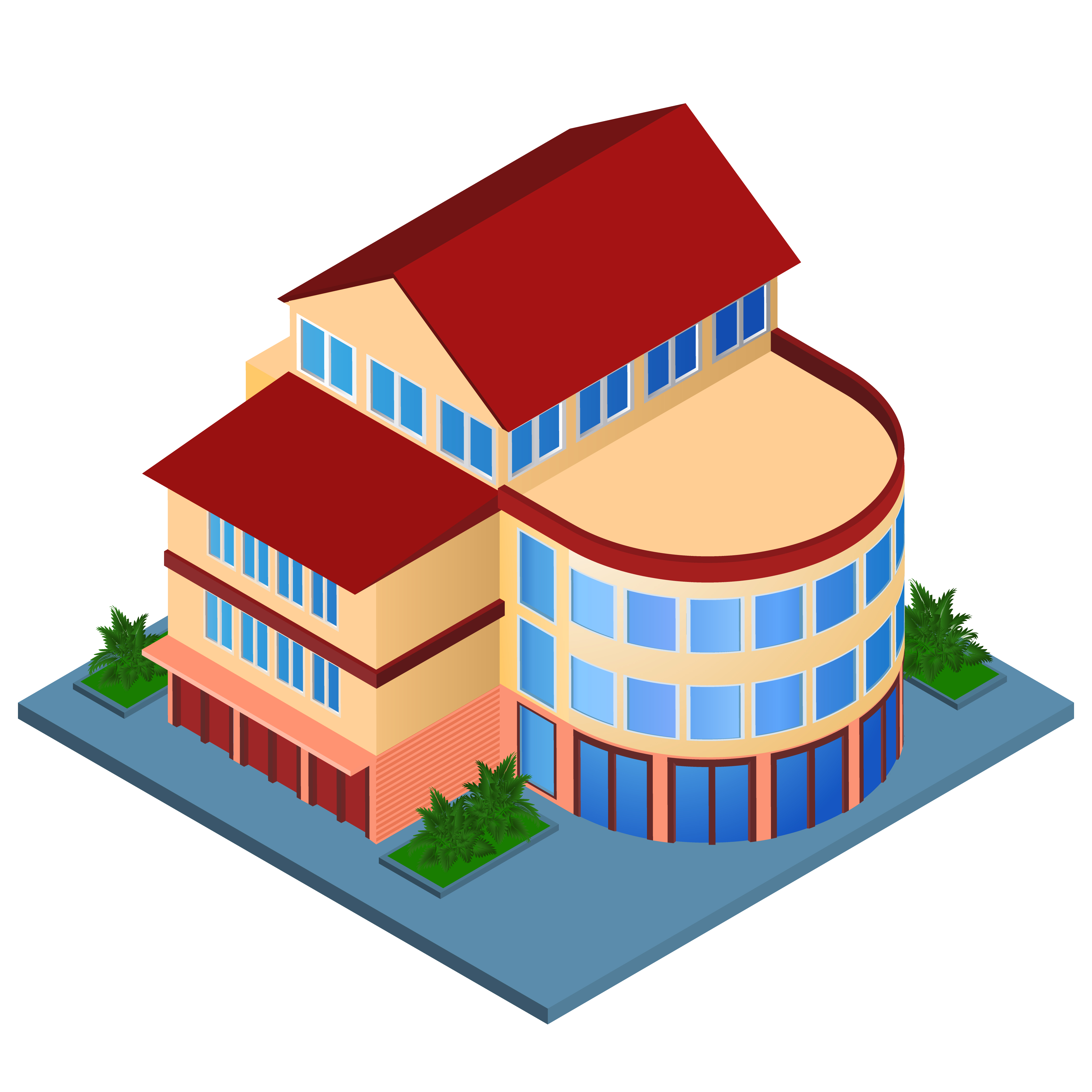 Modern building isometric vector download free vector for Home design 3d professional italiano gratis