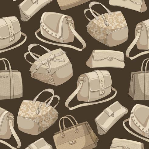 Seamless woman's stylish bags retro pattern vector