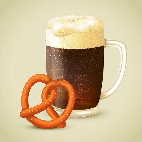 Dark beer and pretzel vector