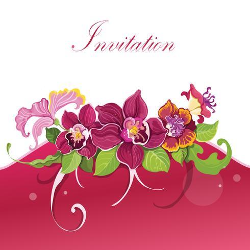 Tropical flower invitation