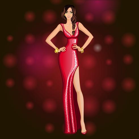 Glamorous dancing party girl