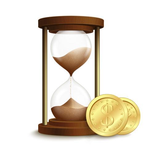Cartel de reloj de arena con monedas
