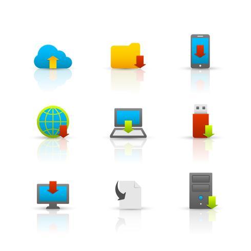 Jeu d'icônes de symboles de téléchargement Internet vecteur