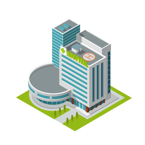 Ospedale edificio isometrico vettore