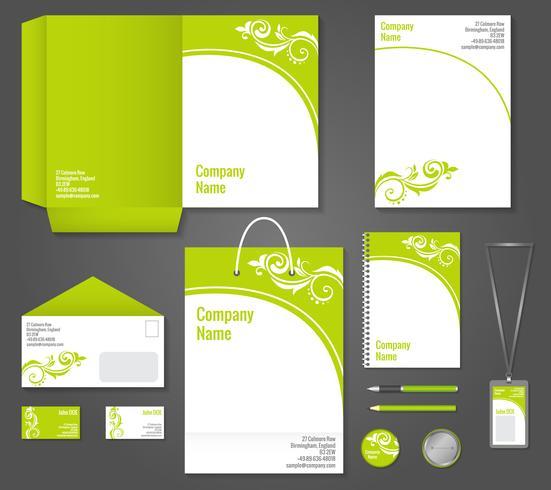 Plantilla de papelería de negocios florales verdes vector