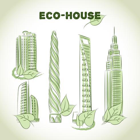 Icônes de bâtiments écologiques
