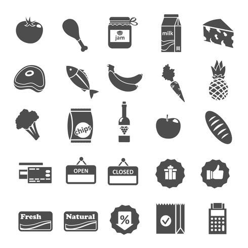 Conjunto de iconos de selección de alimentos de supermercado