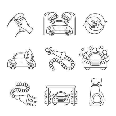 Contour d'icônes de lavage de voiture
