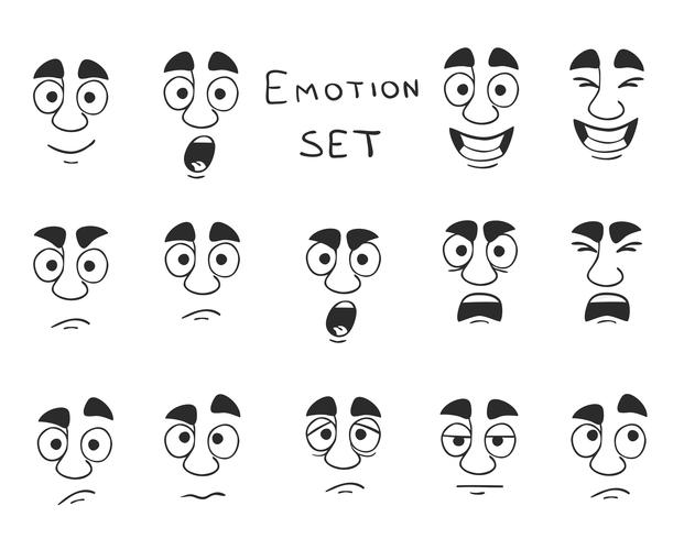 Facial Avatar Emotions Icons Set vector