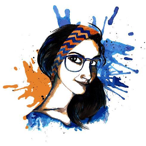 Hipster de tinta de menina vetor