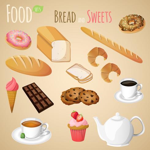 Conjunto de pan y dulces. vector