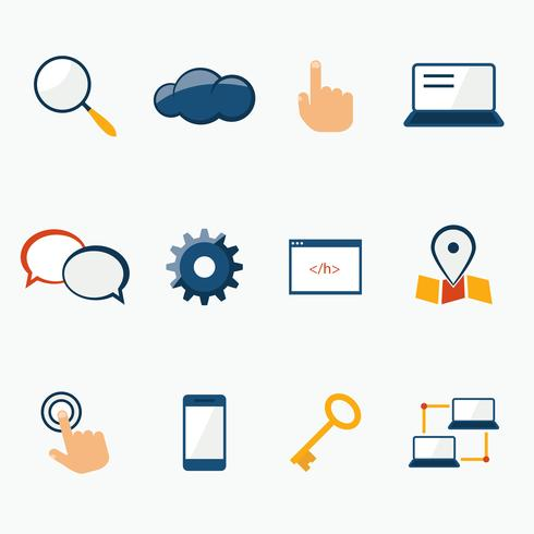 Conjunto de iconos de servicios de marketing de Internet