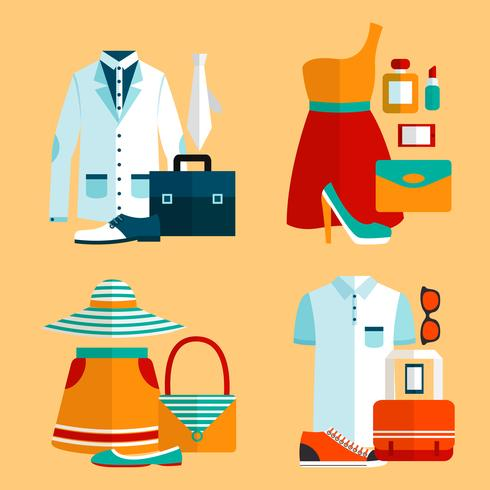 Shopping Vêtements Icons Set