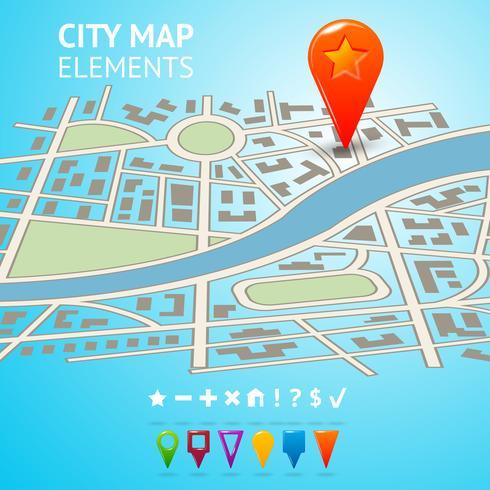 Mapa da cidade com marcadores de navegação
