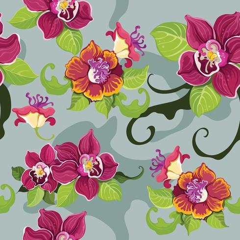 Modello di fiore tropicale senza cuciture?