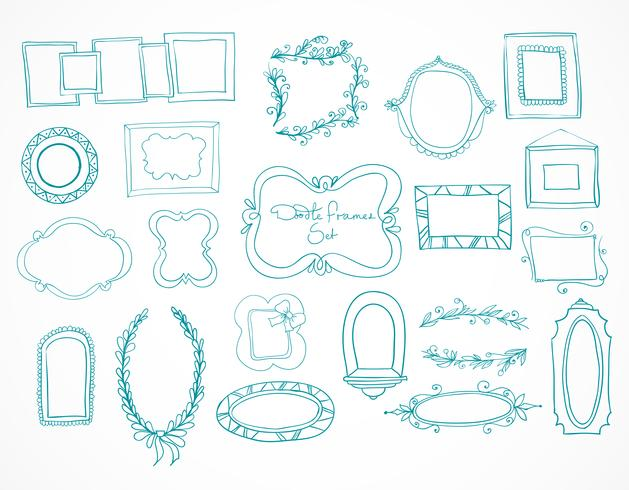 Collection of hand drawn doodle frames