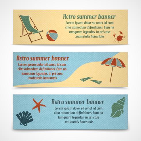 Banners de vacaciones de verano horizontales vector
