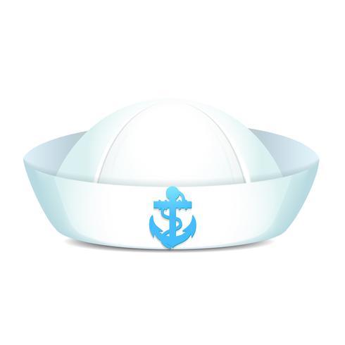Sombrero de marinero enarbolado con ancla azul