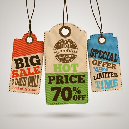 Colección de precios de venta de cartón. vector