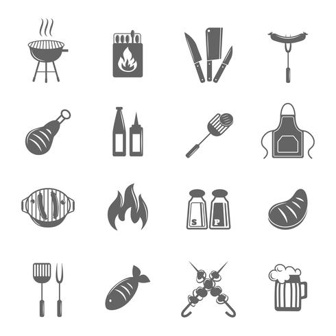 BBQ-Grill-Icons gesetzt vektor