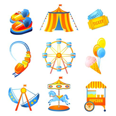 Conjunto de iconos de parque de atracciones