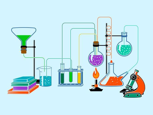 Scientific laboratory flat background