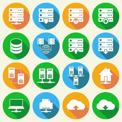 Hosting-Technologie-Icons Set