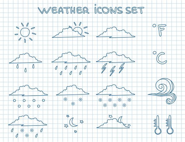 Ensemble de pictogrammes de prévisions météorologiques vecteur