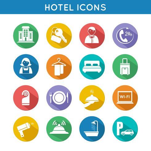 Hotel conjunto de iconos de viaje vector