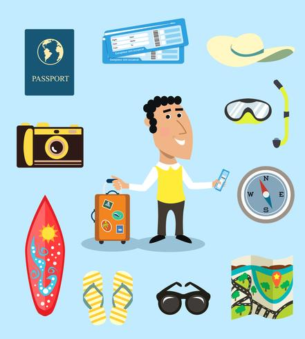 Vacation or business traveler character set - Download Free Vector