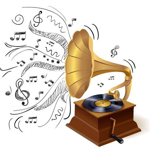 Muziek doodle grammofoon